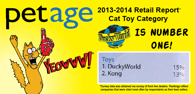 PetAge's 2013-2014 Retail Report Names DuckyWorld Number 1 Best Seller in Cat Toy Category